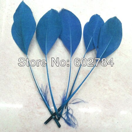 Envío Gratis, 100 unids/lote, 10-15 cm, plumas de ganso azules despojadas, máscara para fiesta, sombrero, accesorio de sombrilla, plumas individuales teñidas