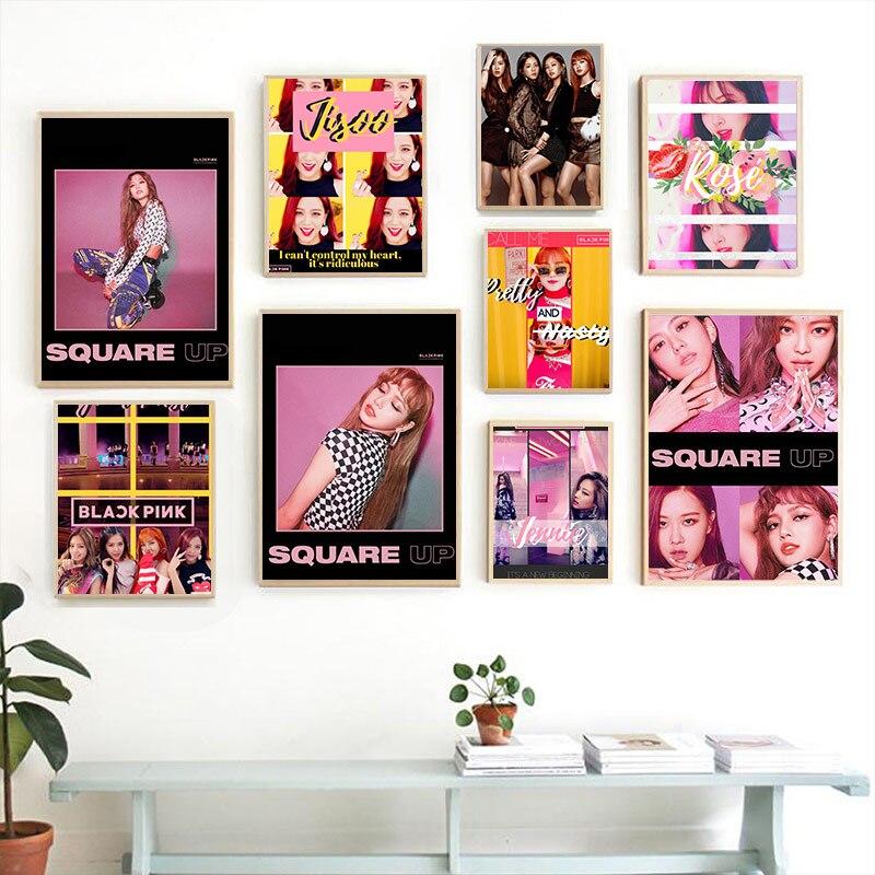 Blackpink Jisoo Jennie Lisa Rosa Kpop ulzzang chica a casa habitación decoración dormitorio impresión cartel pintura pared Lona de arte