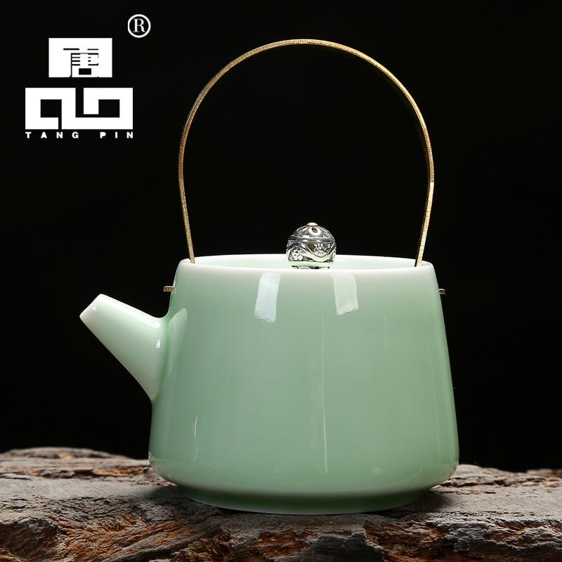 TANGPIN-إبريق شاي سيليدون من السيراميك الصيني ، إبريق شاي صيني ، طقم شاي كونغ فو