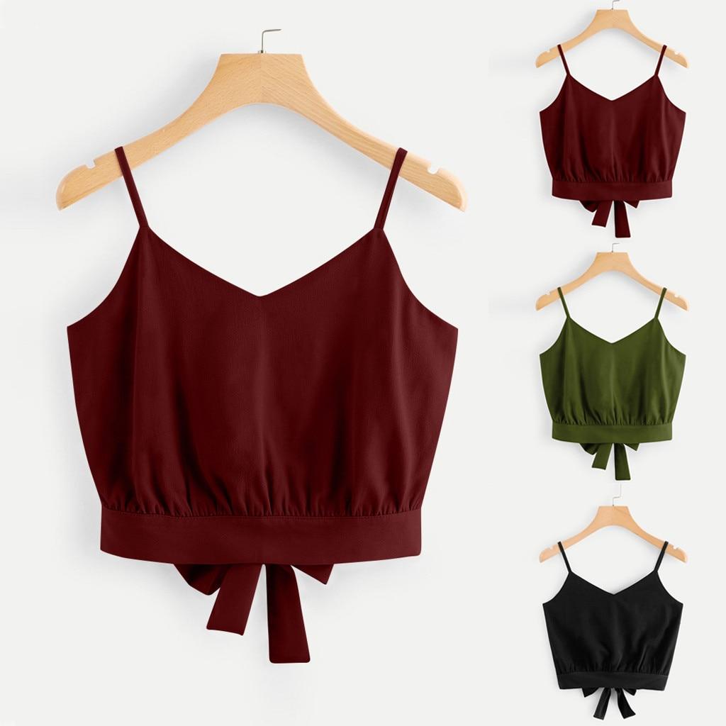 Camiseta de verano para mujer, estilo retro, con bonito lazo en la espalda, cuello en V, Estilo vintage, blusa, camiseta para mujer, verano # sw