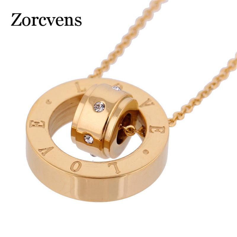 ZORCVENS bisutería de dos colores 316L sello de acero inoxidable diseño de amor colgante collar nuevo para las mujeres