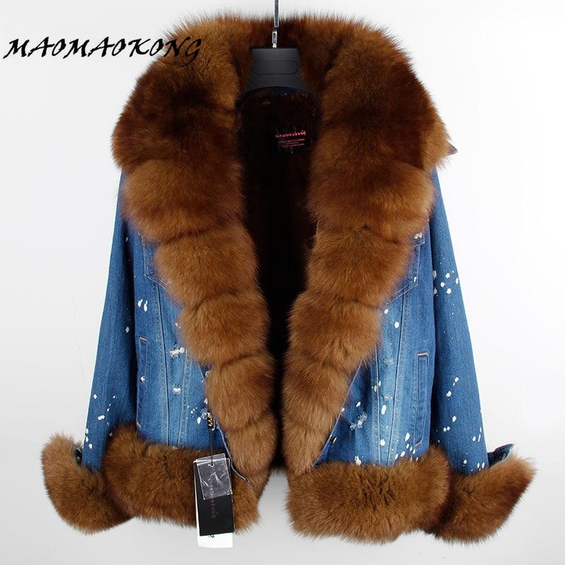 real fur women Short parka coat winter jacket real natural fox fur coat thick warm fur parkas