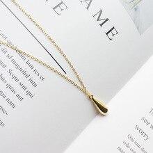 ABC S925 pure silver doble media luna gota de agua collar joyas Boho mini mujer collar novia regalo gold water droplet necklace