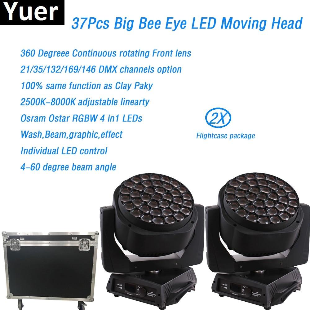 2 unids/lote Flightcase RGBW 4in1 iluminación con cabeza giratoria x 37x15w led clay paky un leda B-EYE K20 dmx512 lavado de discoteca dj luz de la etapa