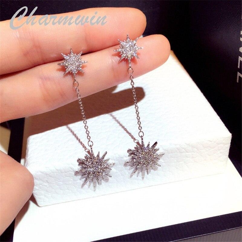 Charmwin novos brincos longos balançar brincos para as mulheres strass sol flor gota brincos moda jóias pe1912