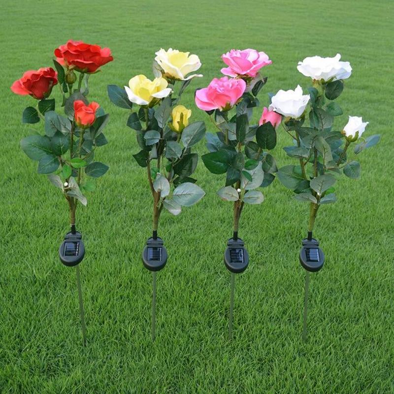 2pcs! Hot Outdoor Rose Flowers LED Light Solar Powered LED Artificial Flower Home Lawn Lamp Garden Courtyard Decoration Light