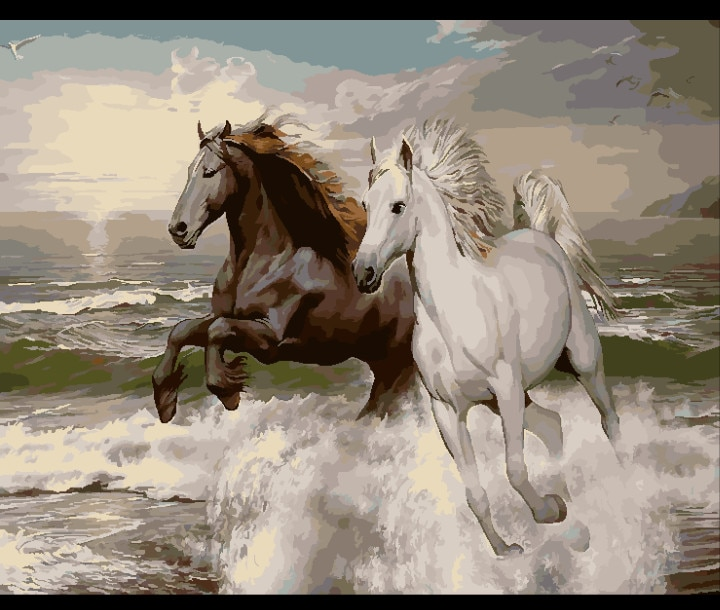 Galopar a caballo Pentium Animal pintura Digital de DIY por números en la lona, pintura moderno cuadro sobre lienzo para pared regalo Casa Decor 40x50cm