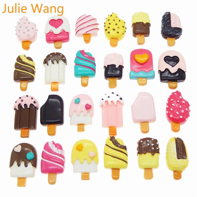 Julie Wang 20 piezas, cabujones de helado de resina, mezcla aleatoria de abalorios, joyería, collar, pulsera, accesorio, decoración para teléfono del hogar