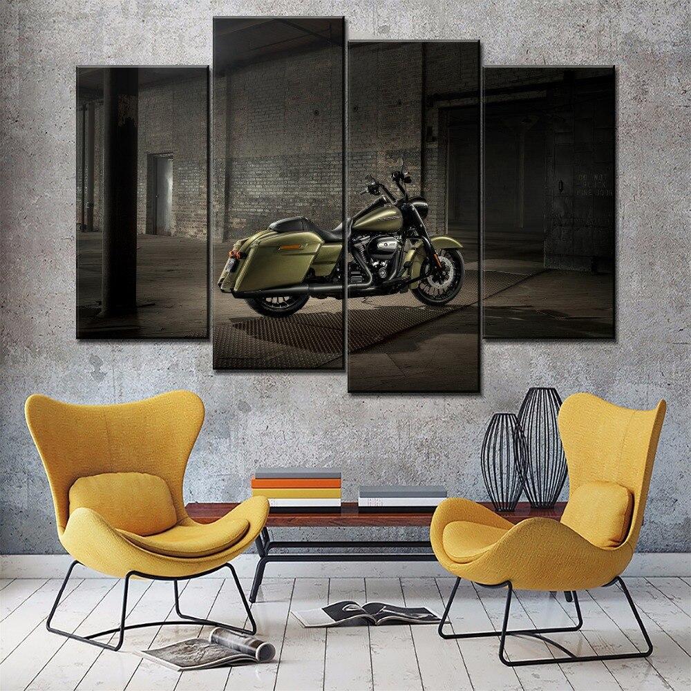 Arte moderno en la pared, sala de estar decorativa, un conjunto Modular, 4 paneles, motocicleta, póster clásico de Road King, tipo de impresión en lienzo