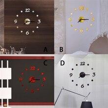 3D DIY números romanos acrílico espejo Adhesivo de pared reloj decoración del hogar Mural calcomanías europeo colgante moderno papel tapiz reloj #4J21