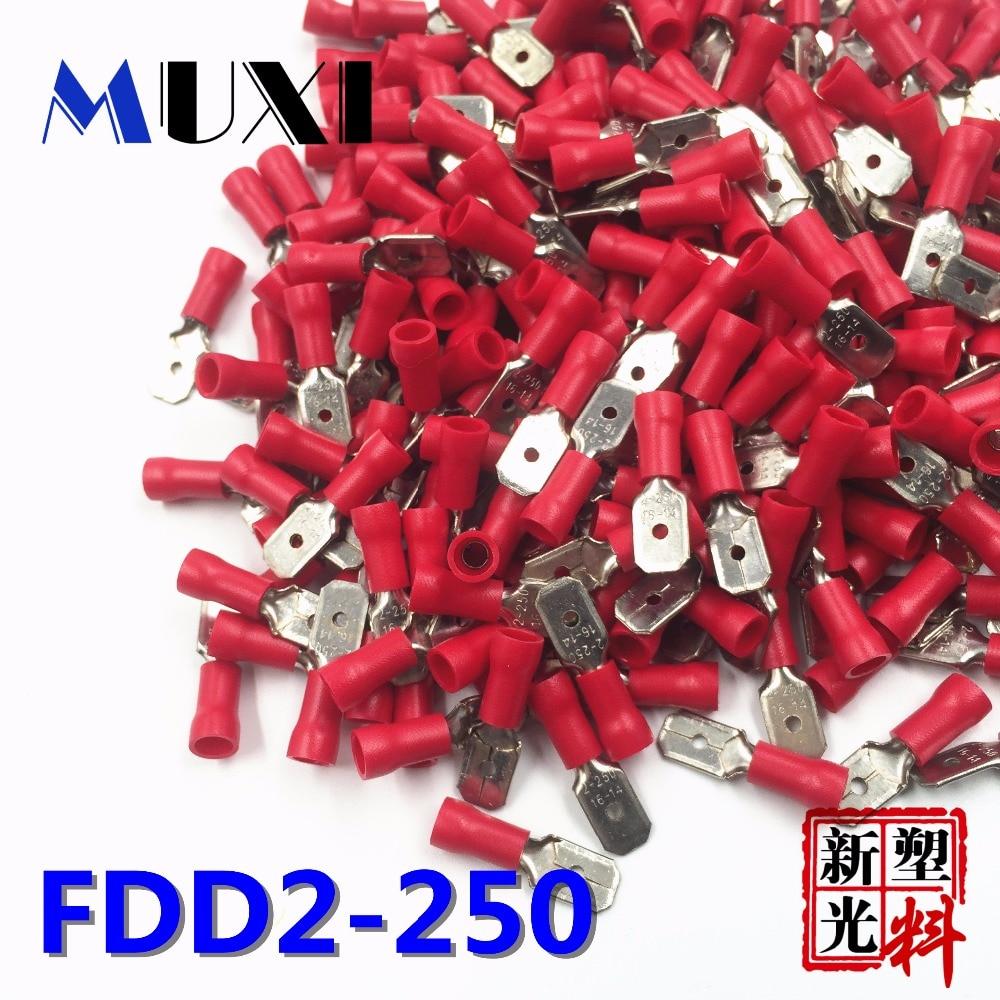 FDD2-250 мужской изолированный Электрический обжимной терминал для 1,5-2.5mm2 коннекторов кабельный провод соединитель 100 ⑤ упак. красный
