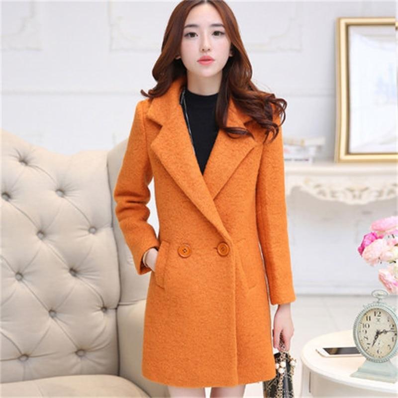 Women Wool Coat With Quilting Long Winter Woolen coats Red Black Fashion Casual Wool Peacoats  sizeS-XL