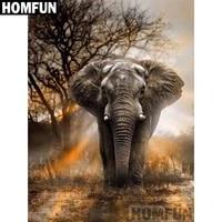HOMFUN     peinture diamant theme  coucher de soleil elephant   broderie complete 5D  perles carrees ou rondes  points de croix  decoration dinterieur  a faire soi-meme  cadeau  A02357