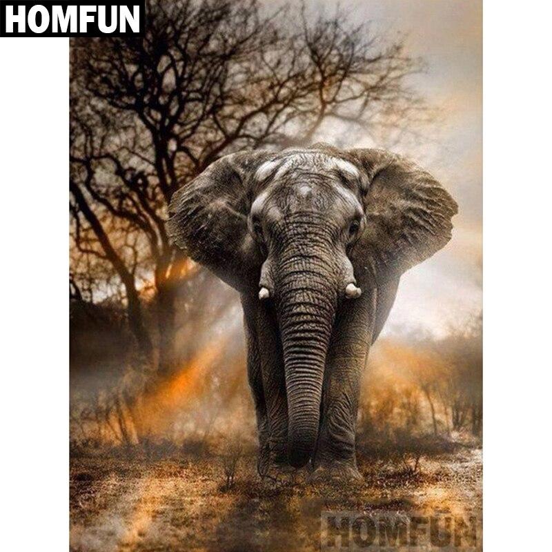 """HOMFUN taladro cuadrado/redondo completo 5D DIY pintura de diamante """"elefantes al atardecer"""" bordado punto de cruz 5D decoración del hogar regalo A02357"""