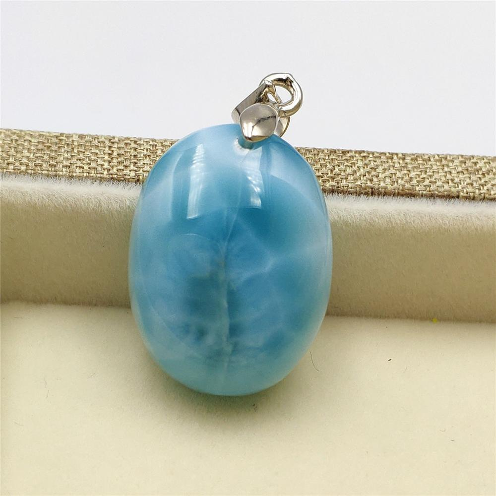 Colgante de piedra preciosa Natural genuina Larimar azul claro para mujer 22x17x8mm ovalado redondo aniversario amor regalo 14K oro colgante AAAAA