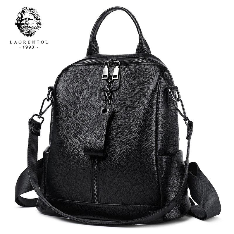LAORENTOU Brand Genuine Leather Female Original Travel School Bag Women Soft Fashion Mochilas Girl's High Quality Backpack