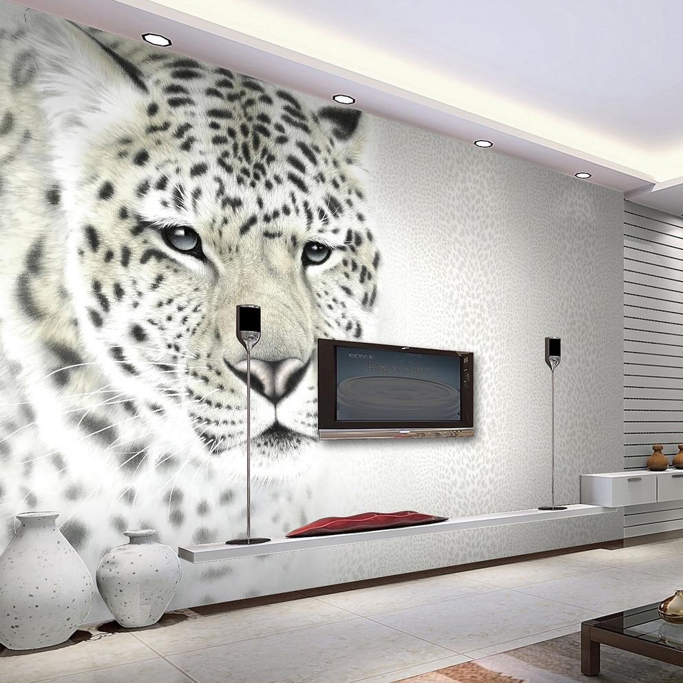 Tier Weiß Leopard Foto Wandbild Angepasst Größe Nicht-woven 3D Wand Papier Wohnzimmer TV Sofa Hintergrund Moderne Einfache wohnkultur