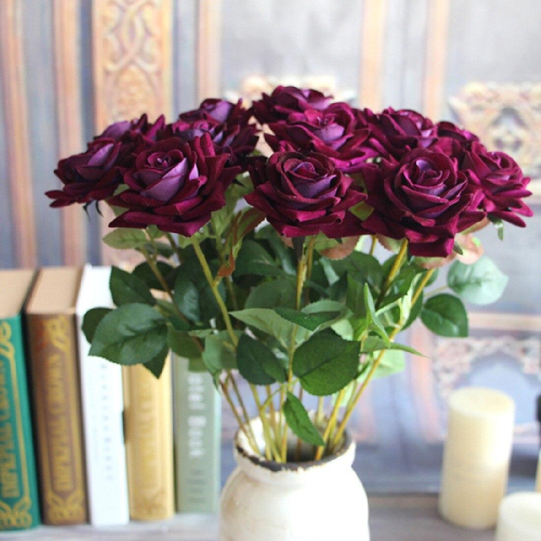 1 unidad francesa romántica flor de Rosa artificial DIY Flor de seda para fiesta hogar boda vacaciones decoración San Valentín rosa