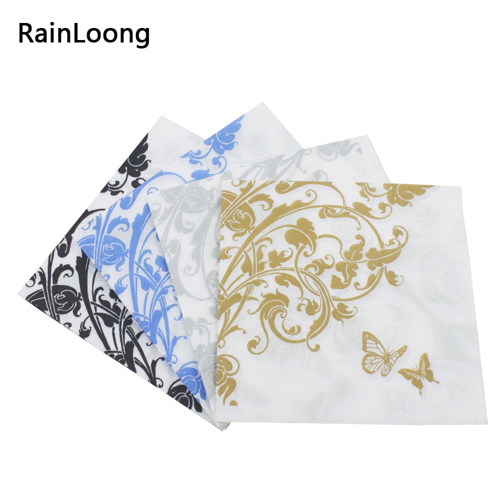 [RainLoong] servilletas de papel para bebidas flores con mariposas evento y servilletas de tela para fiestas decoración servilletas 5 paquetes (20 unids/pack)