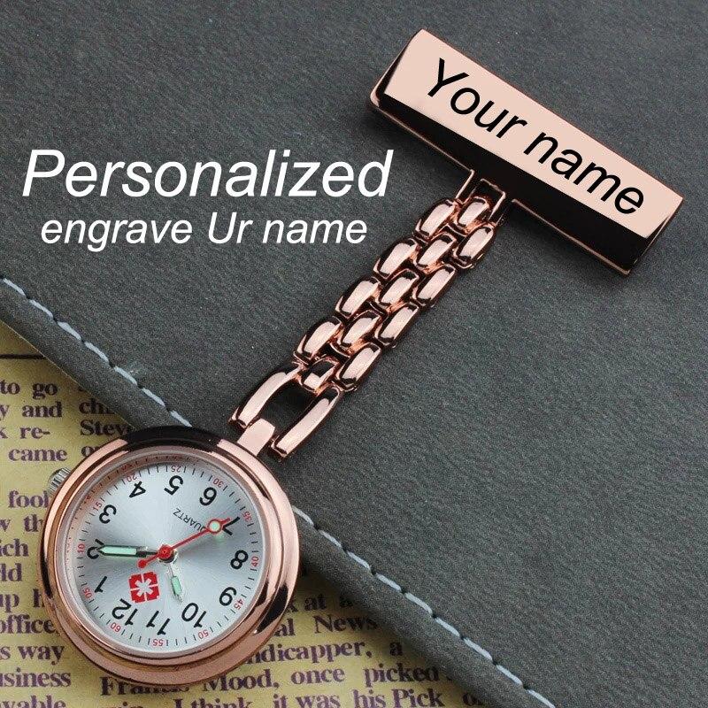 Персонализированные Индивидуальные гравированные с вашим именем из нержавеющей стали отворот булавка брошь Высокое качество розовое золото Fob часы медсестры