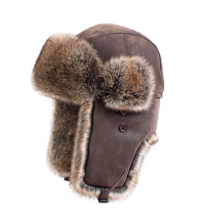 Bomber Hoeden Faux Konijnenbont Russische Ushanka Vintage Pu Lederen Oorklep Aviator Trapper Mannen Vrouwen Winter Warm Sneeuw Ski Cap