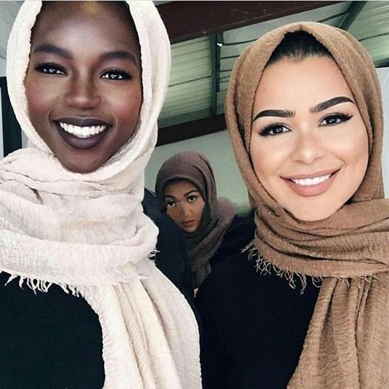 Многоцветная мусульманская шаль, женский платок, мусульманский хлопковый хиджаб, платок, платок, мгновенный шарф, Арабский Дубай, тюрбан дл...