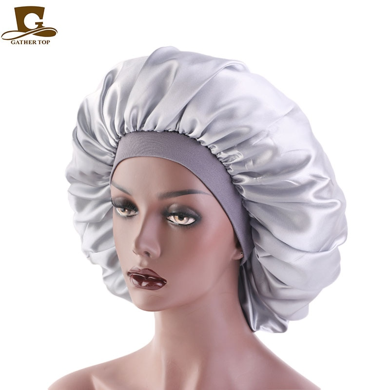 Extra Large Print Satin Silky Bonnet Sleep Cap with Premium Elastic Band For Women Solid Color Head