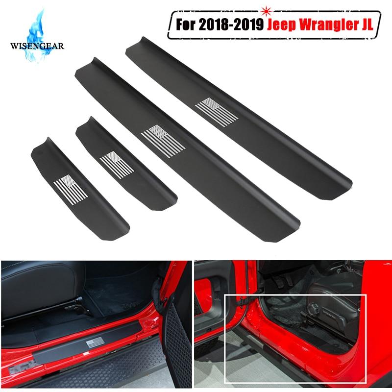 Para Jeep Wrangler JL 4 Umbral de puerta protector de placa de desgaste de la cubierta de la puerta del coche antiarañazos desgaste entrada Pedal etiqueta Trim proteger a 2018 de 2019