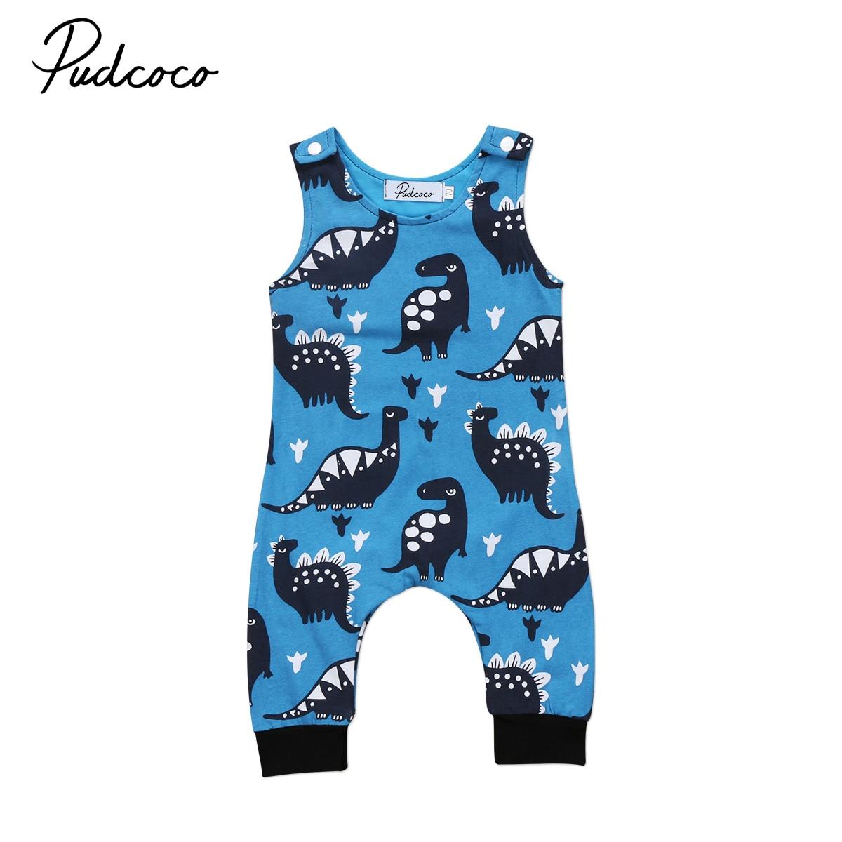 Nuevo 2020 Pudcoco 0-18M dinosaurio bebé recién nacido sin mangas mono azul mono de anime traje ropa algodón 2019