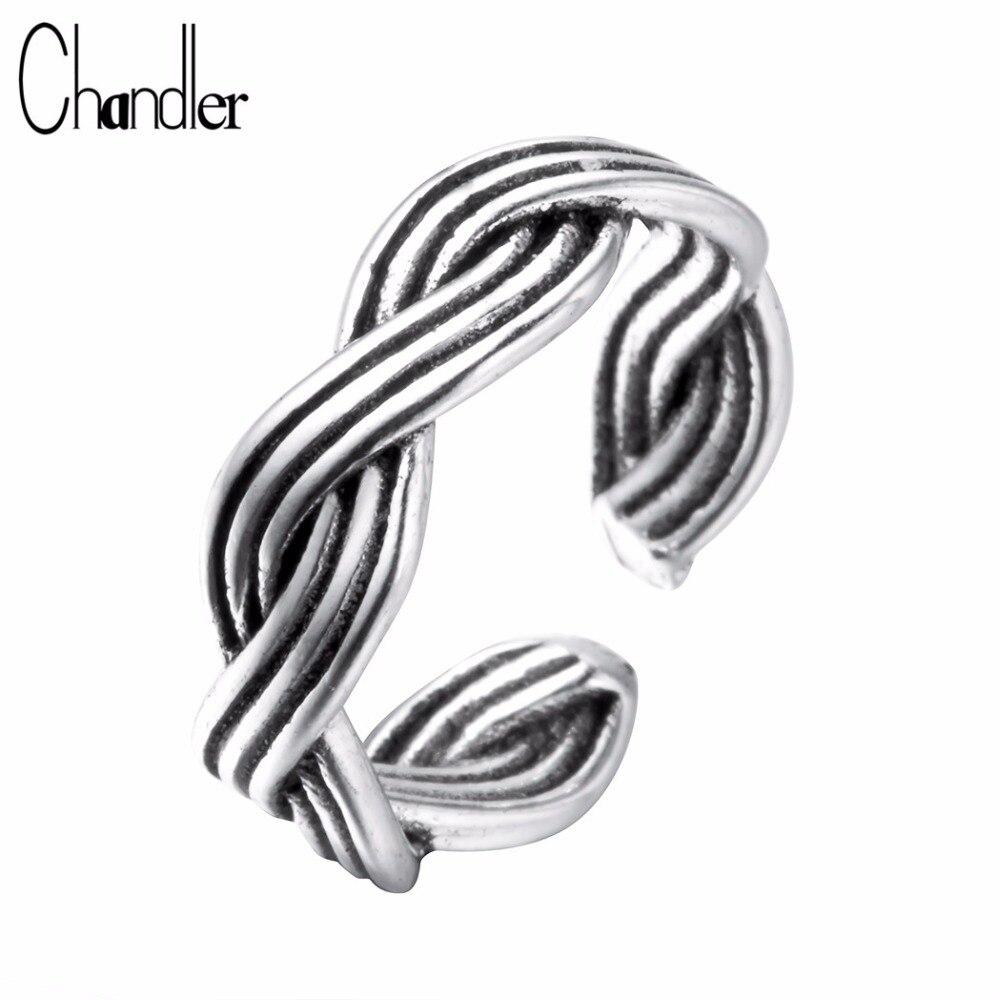 Женские двойные поворотные кольца Chandler, байкерские черные тайские мотоциклетные кольца простого дизайна