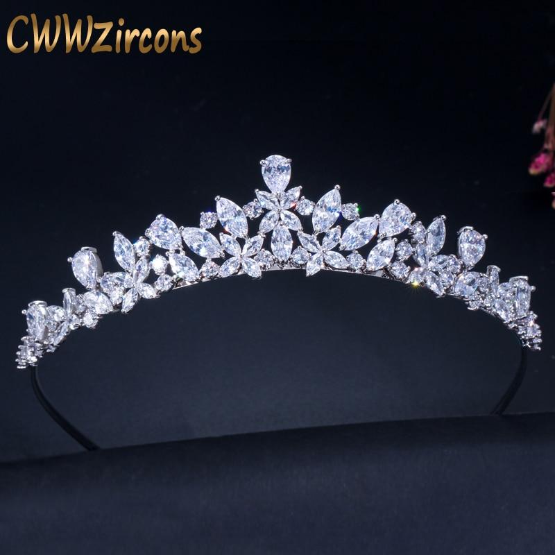 CWWZircons-تاج زركونيا مكعب رومانسي ، تاج الزفاف ، وصيفه الشرف ، إكسسوارات الشعر ، مجوهرات A008
