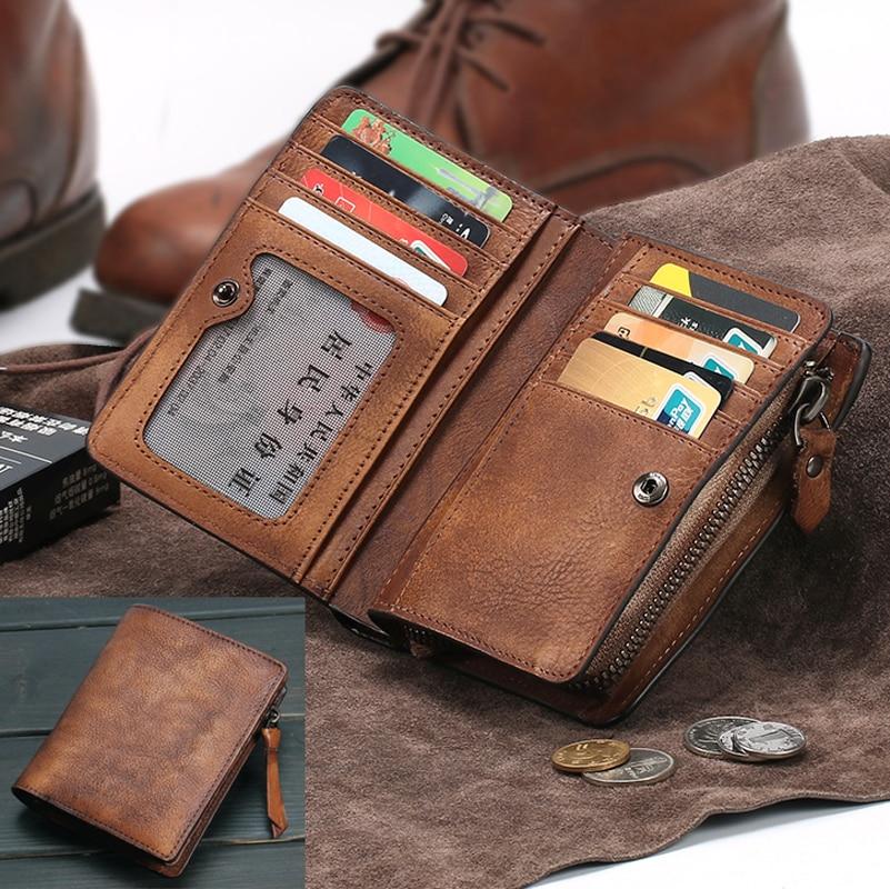 Мужской кошелек, винтажный, из натуральной кожи, вертикальный