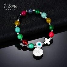UZone San Benito mauvais oeil croix Bracelet pour femmes pierres élastique pendentif brin Bracelet pour religieux chanceux perles Bracelet