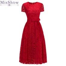 En Stock Rouge Dentelle Manches Courtes Soirée robes de grande taille Élégant Court Pas Cher Simple Robe Formelle Femmes Vin Rouge ceinturée Robe De Bal