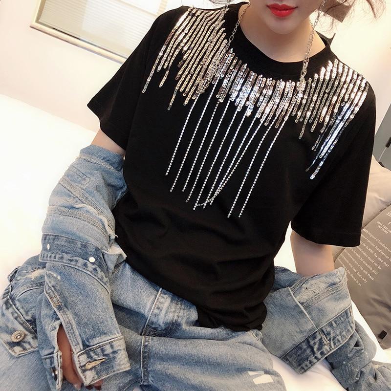 Женская футболка с металлическими кисточками, уличная футболка с блестками в Корейском стиле, 2019