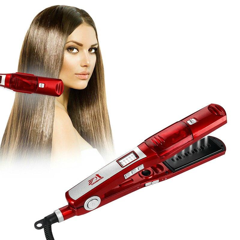 profissional vapor alisador de cabelo escova pente plana ferro ceramica seco molhado