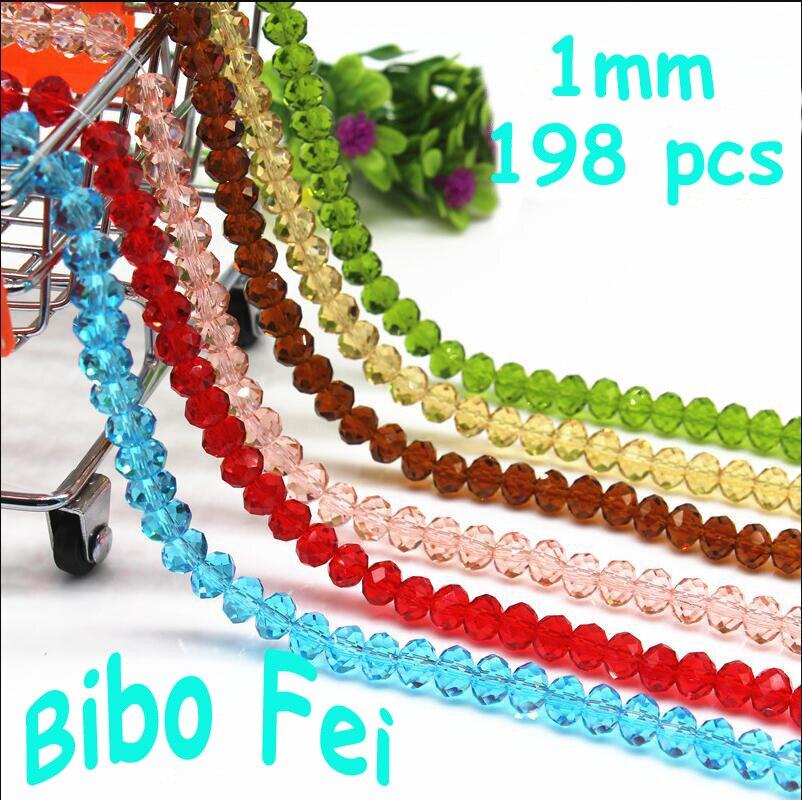 Frete grátis multi cor 1mm 198 pçs bicone contas de cristal corte facetado contas de vidro redondo, pulseira colar jóias fazendo diy