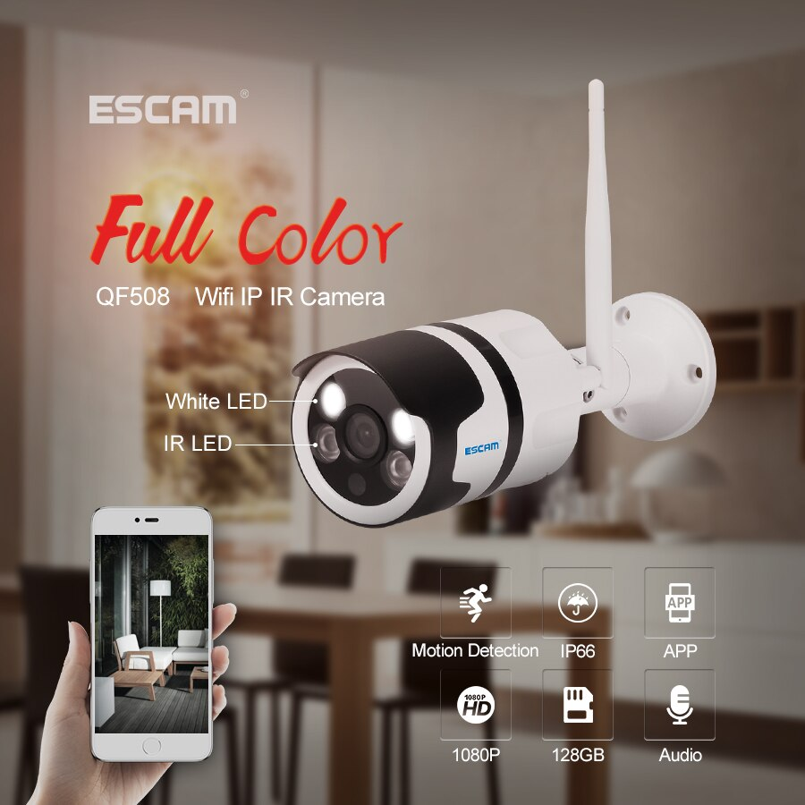 Cámara ESCAM QF508 IP HD 1080P 2MP impermeable al aire libre a todo color visión nocturna cámara de seguridad infrarroja Bulllet Cámara YOOSEE