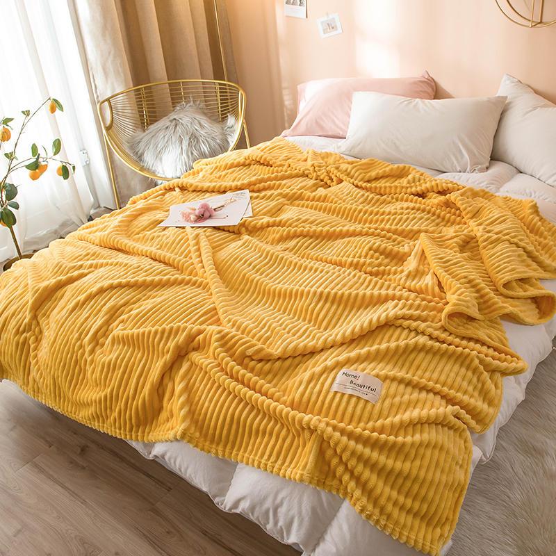 Bonenjoy одеяло s для кроватей однотонное желтое мягкое теплое 300GSM плед клетчатое квадратное фланелевое одеяло на кровать толстое пледы одеяло