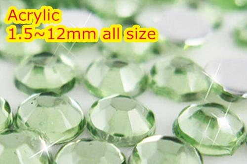 Peridot Farbe 1,5 ~ 12mm Alle größe Wahl Flache Rückseite Runde Acryl strass, acryl Harz 3D Nail art/Bekleidungs Strass