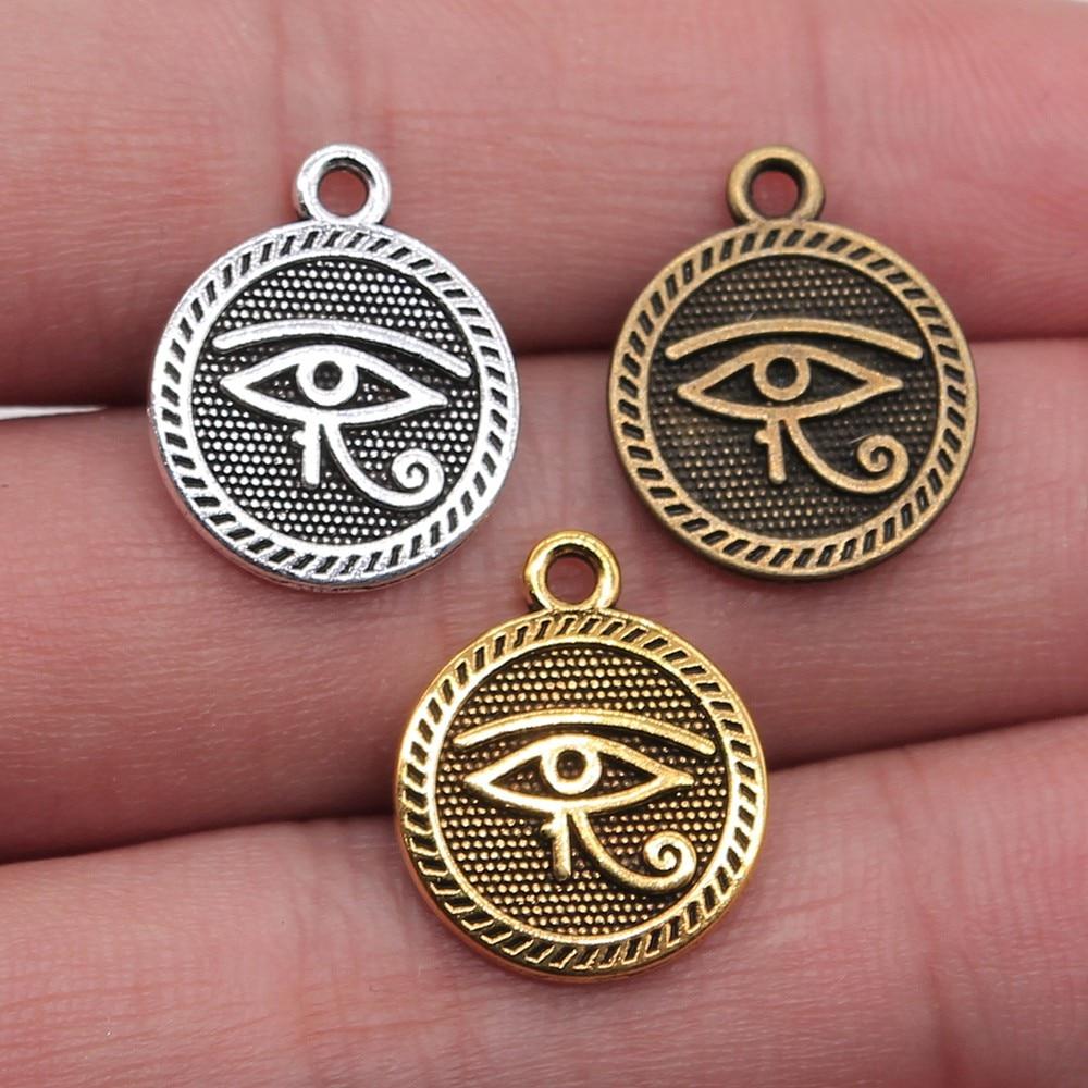 Ojo de Horus de 15mm, 8 piezas, 3 colores, Ojo de Horus, amuletos, doble cara, amuletos para hacer joyas