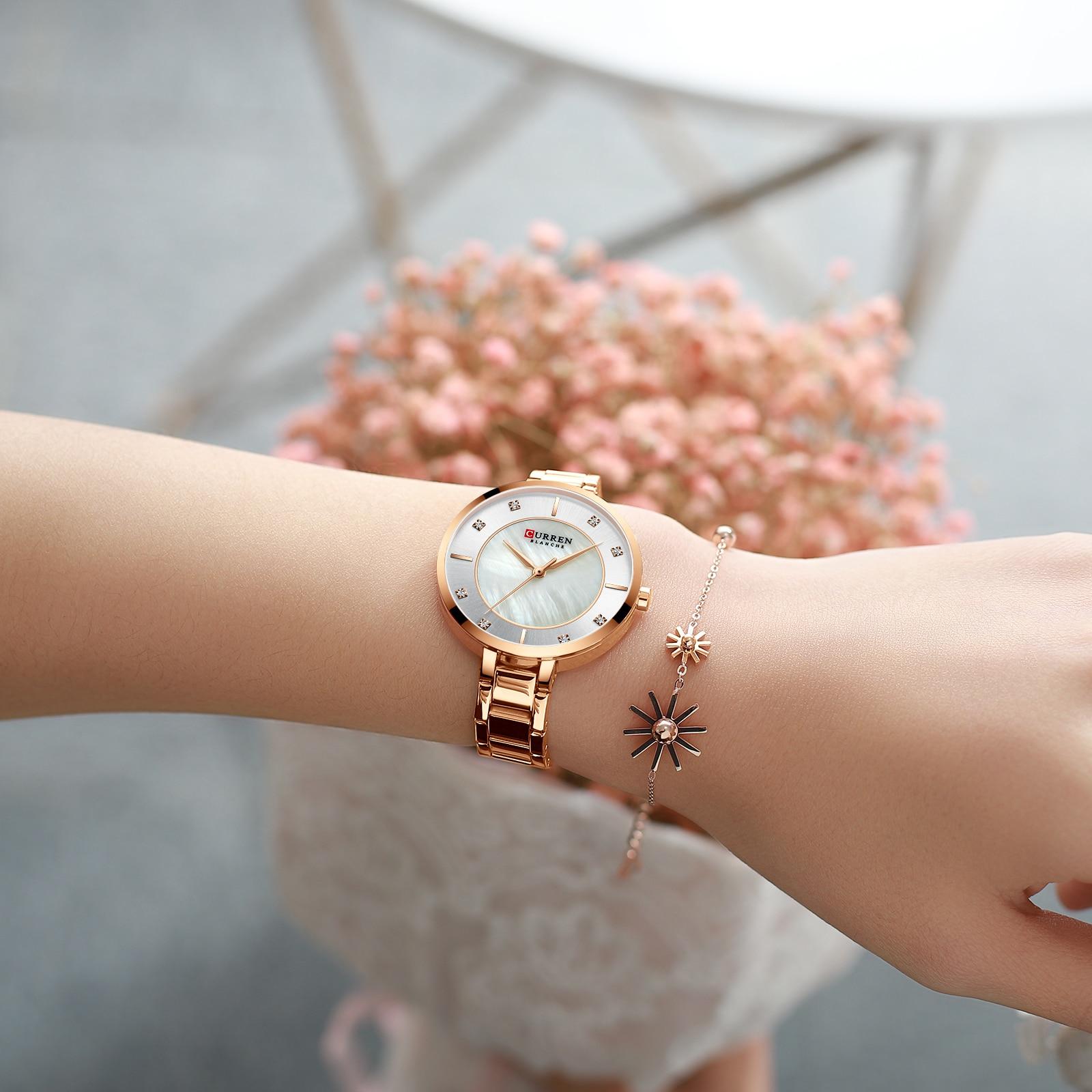 CURREN Elegant Women Watch Rose Gold Slim Crystal Stainless Steel Strap Quartz Fashion Waterproof Female Watches Relogio Feminin enlarge