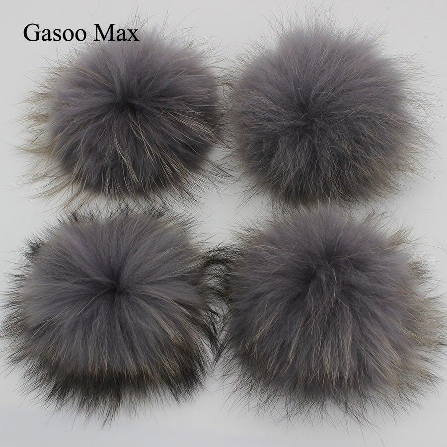 15pcs DIY 15cm Grey Black Yellow White Raccoon&Fox Fur Pom Poms Real Genuine Fur pomopms Colors Can be Mixed