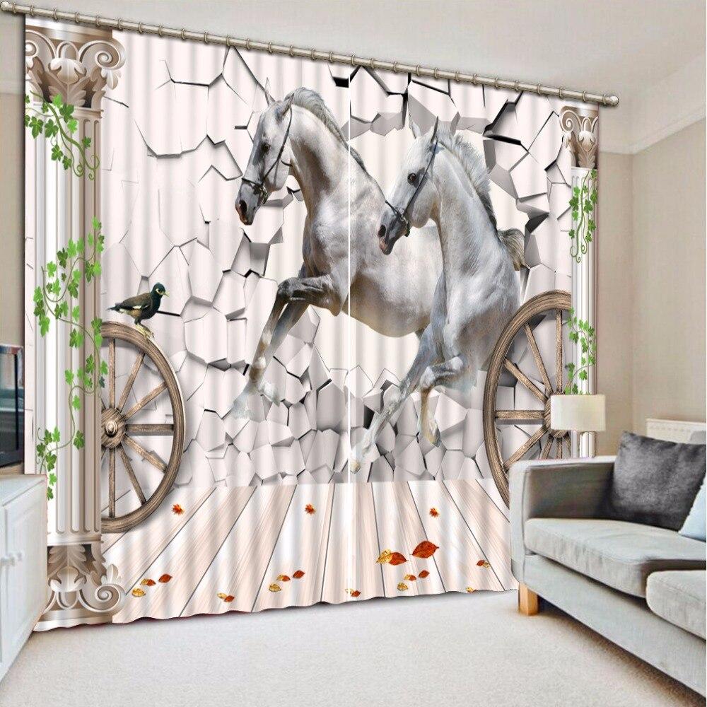 Cortina 3D personalizada de alta calidad, cortina opaca para salón, cortina opaca para caballos, pared rota, cortinas para ventana, cortina de ducha para baño 3D