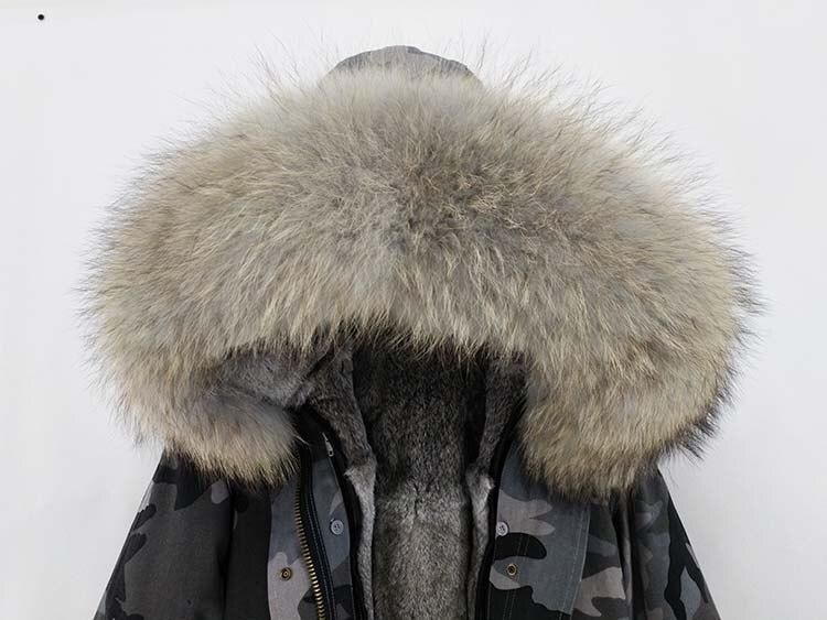 2018 women winter rabbit fur jackets and coats real big raccoon fur collar hooded coat long parka black green streetwear outwear