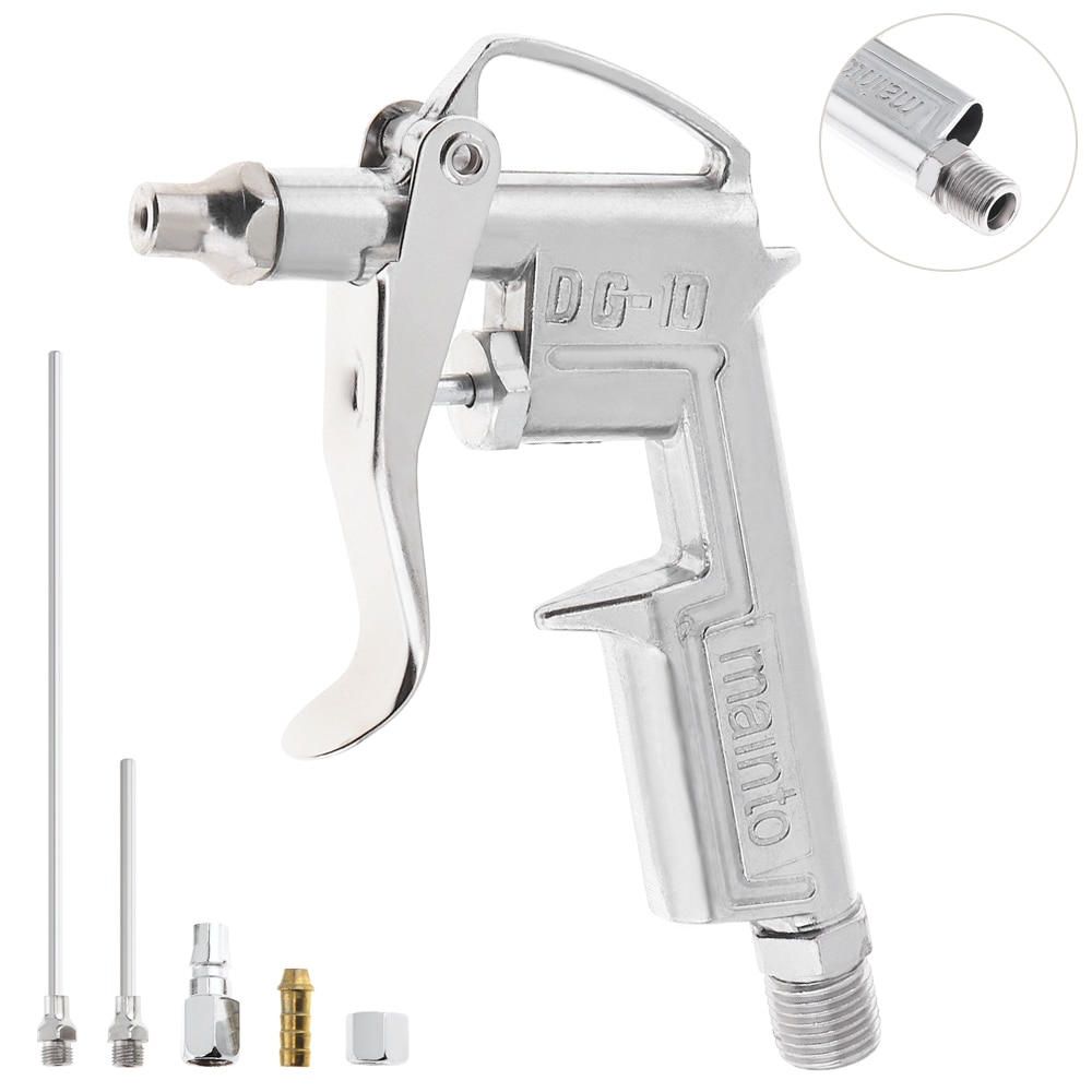 Mini Pneumatic Blowing Dust Spray Gun with 7.5mm Air Inlet Port and 3pcs Nozzle for Leather Oiling Wall Painting Refinish