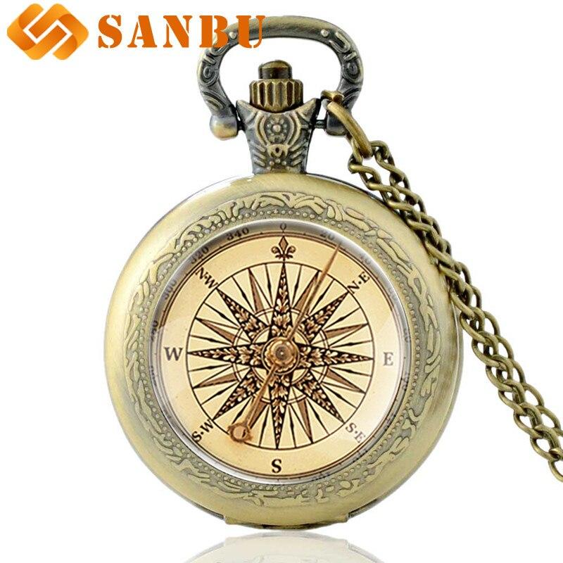 Retro bússola relógio de bolso de quartzo vintage bronze masculino feminino pingente colar presentes