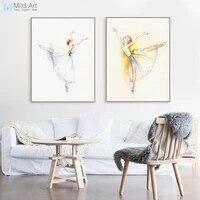 Affiche de ballerine de danse de Ballet moderne  aquarelle  elegante  imprimee  tableau dart mural de chambre de fille  peinture sur toile personnalisee