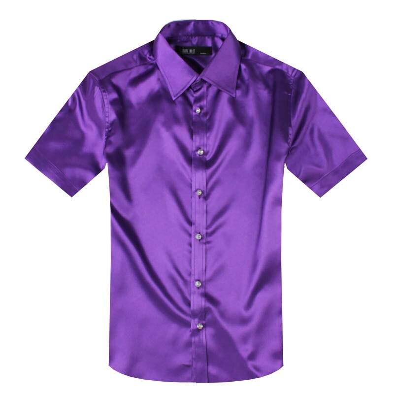 ANPOETCHY-قميص رجالي من الحرير الصناعي ، ملابس صيفية ، قماش لامع ، أكمام قصيرة ، 14 لونًا ، أزياء كورية