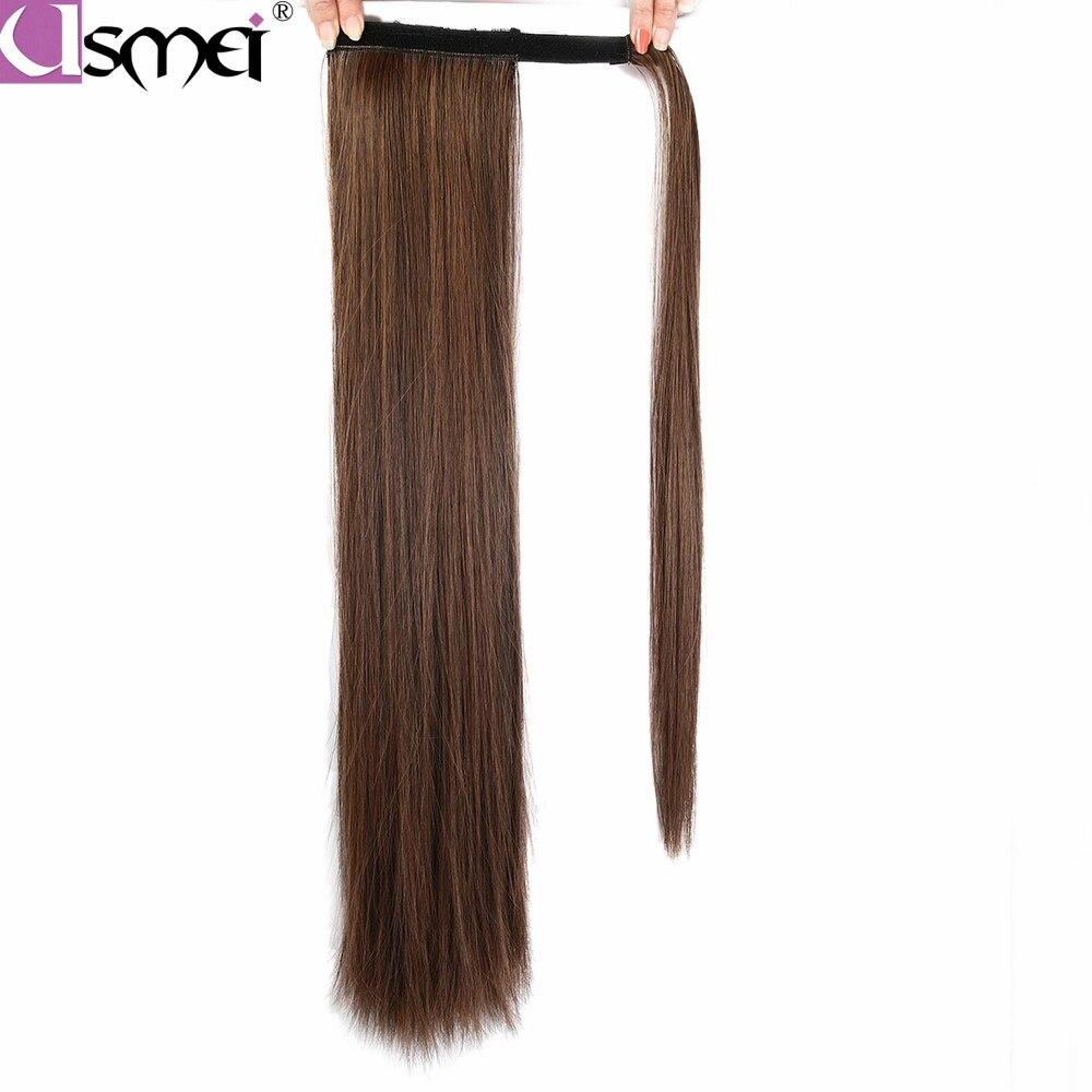 Длинный шелковистый прямой хвостик USMEI, 24 дюйма, синтетические термостойкие накладные волосы на клипсе, конский хвостик, круглая заколка дл...